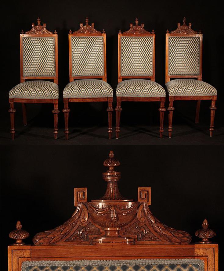 Komplet 4 Unikatowych Krzesel Foteli Xixw Styl Ludwik Xvi 0344