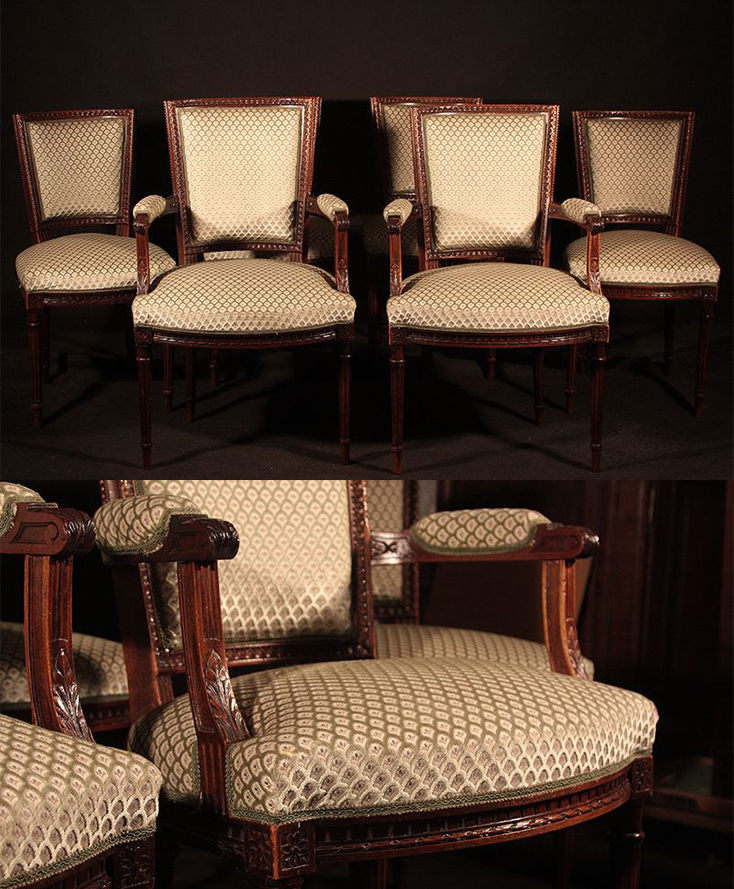 Komplet 4 Krzesel I 2 Foteli Ludwik Xvi Antyk Xixw 0363 Empire